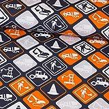 Stoffe Werning Baumwolljersey Baustellen Schilder Grau Orange Kinderstoff - Preis Gilt für 0,5 Meter