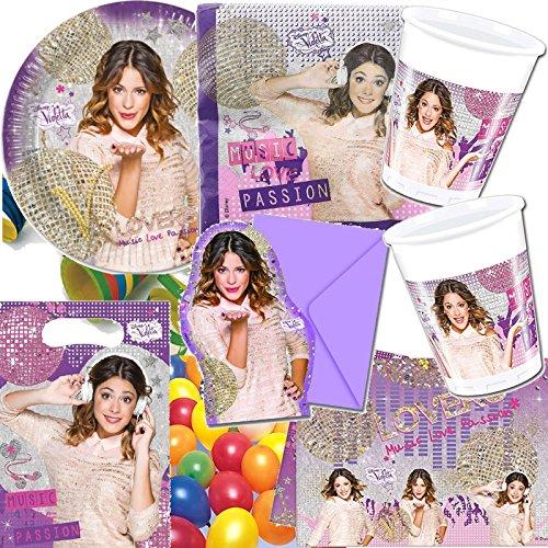 TTA GOLD * PARTY SET für Kindergeburtstag: mit Teller, Becher, Servietten, Einladungen, Partytüten, Tischdecke, Luftschlangen, Luftballons // Mottoparty Disney Sängerin rosa ()