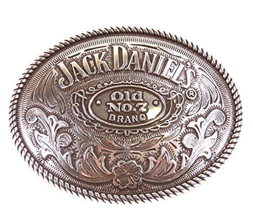 Gürtelschnalle Jack Daniel's Old No. 7 Brand oval Gürtelschnalle Gürtelschließe Western Belt Buckle Westerngürtelschnalle Rodeo Vintage Silber -