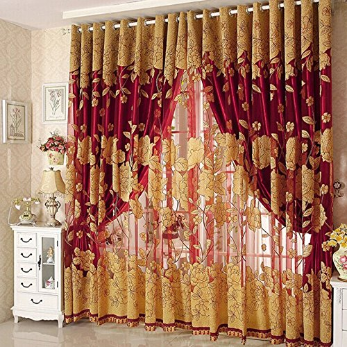 Diossad Transparent Gardinen Rot Vorhang Gardine Fenster Gardine mit Blatt-Muster für Wohnzimmer Schlafzimmer Blume Fenster Voilevorhang Tüll Vorhang