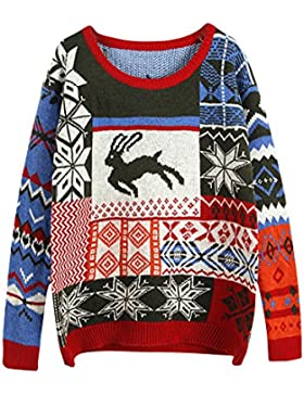 Mujeres ciervos nieve impresión Casual De Manga Larga Pullover Outwear Verdinegro