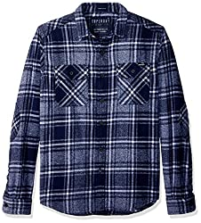 Superdry Mens Milled Flannel Shirt, Lavenham Navy Check, M