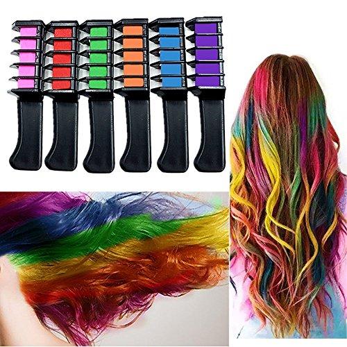 6er Set Haarkreide Kamm Haarentfärber Haarfärbekreiden 6 Farben für Cosplay DIY Party Karneval Halloween Ungiftig Auswaschbar
