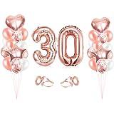 Bluelves Palloncini Compleanno 30, Oro Rosa Palloncini 30, Palloncini Compleanno 30, Numero 30 Gonfiabile Compleanno, Complea