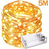 Mobily LED String Lights, 50 LED Strip Copper Wire Lights, Fairy Lights, Indoor Outdoor Waterproof Solar Decoration Lights for Gardens, Home, Dancing, Party, Christmas, Warm White (5M)