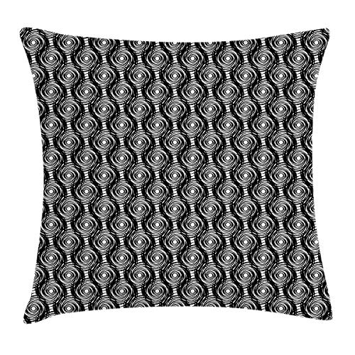 XIAOYI Starry Night Throw Pillow Cushion Cover, Monochrome Round Spiral Pattern with Swirls Modern Art Design Inspiration, Decorative Square Accent Pillow Case, 18 X 18 inches, Black and White -