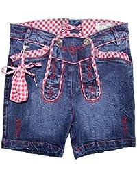 Alpengl/ück Kinder-Trachten Jeansshorts aus Baumwolle I Sch/öne M/ädchen-Shorts in Blau I Lange Jeans-Hose f/ür Kinder /& Kleinkinder I Kinderhose aus Denim I Wundersch/öne Kinderbekleidung