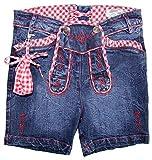 Trachtenland Kurze Jeans Annalena in Lederhosen Optik Jeansblau Rot für Mädchen Gr. 158