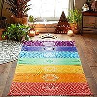Toalla material de Bohemia colgante de pared manta tapiz de colores 7Chakra Rainbow rayas toalla de playa Yoga Mat Gran tamaño