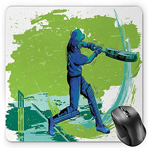 HYYCLS Sports Mauspads, Cricket Player Pitching Win Game Champion Team Paintbrush Effect, Standard Size Rectangle Non-Slip Rubber Mousepad, Navy Blue Turquoise Lime Green Blue Cricket