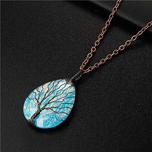 CWQAN Mode Halskette, Mode Blau Harz Kunststoff Wassertropfen Heilung Kristall Handgemachte Tiefe Bronze Baum des Lebens Kupferdraht Gewickelt Halskette Anhänger