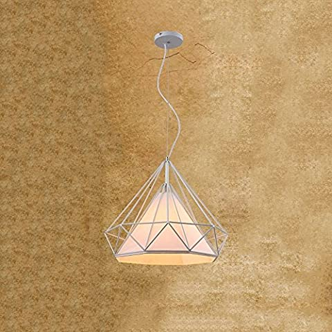 Modeen Lustre en fer forgé industriel en fer forgé Luminaires de plafond avec schades en lin E27 Grange entrepôt Villa Garage réglable Appareils d'éclairage ( Color : White-Large