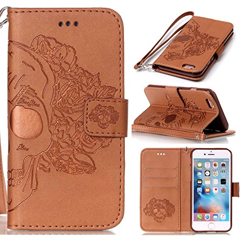 Apple iPhone 6s Plus Case Cover Wallet,Anti-scratch Cuir Dragonne Portefeuille Relief fille papillon Housse pour iPhone 6 Plus,SainCat Coque de Protection PU Leather Flip Wallet Case Cover Bumper Blin crâne-marron