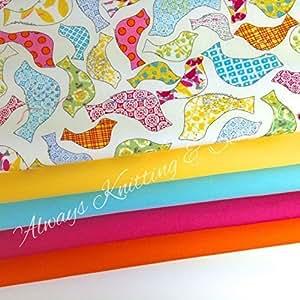 Toujours à tricoter et accessoires de couture Original oiseau arc-en-ciel 5 fat quarter bundle