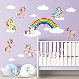 ufengke Pegatinas de Pared Unicornio Arcoiris Vinilos Adhesivos Pared Nube Decorativos para Dormitorio Infantiles Habitación