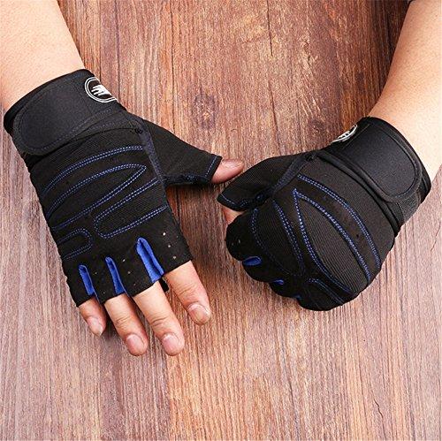 ZYPMM Fitness Handschuhe Männer Outdoor-Sport-Halbfingerhandschuhe rutschfeste Handschuhe Turnhalle Hantel Gewichtheben lange Handgelenk ( Color : Navy blue )