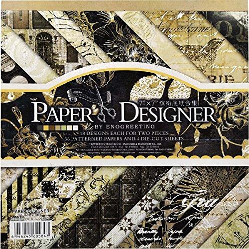 40 Blatt Scrapbooking Papier Gemustertes Karton Bastelpapier mit Vintage Design für DIY Handwerk Foto Hintergrund Deko 7x7 Zoll -