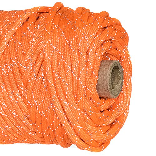 Paracord Planet Reflective Tracer 700lb Paracord - 100% Nylon High Visibility Cord -