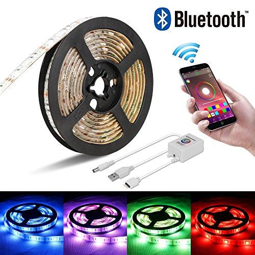 Led Stripes Licht, Mopoin RGB Led Streifen TV Hintergrundbeleuchtung Lampenband USB Powered LED Lichtleiste Bluetooth Android und IOS Smartphone Kontrolliert Fernbedienung 2m Selbstklebend
