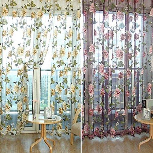 ELECTROPRIME 200x100cm Yellow Flower Beads Window Curtain Drape Panel Scarf Sheer Voile