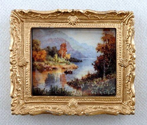 Miniatura Per Casa Delle Bambole Accessorio Scenic Scozzese Loch Immagine Dipinto Montatura Dorata