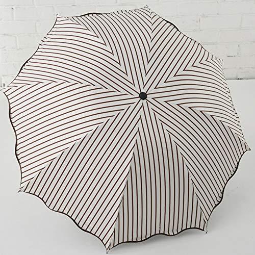 JiMany Regenschirm Sonnenschirm Automatik, Gestreift, Regentag Dual-Use, Faltbar, Unisex, Reise Unerlässlich,Brown