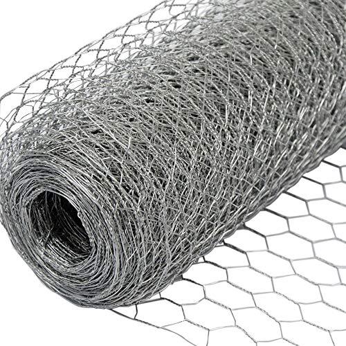 Recinto in rete metallica | maglia esagonale 25x25mm | recinzione per animali e piante lunga 25 m| altezza 100 cm| zincato 0,8mm