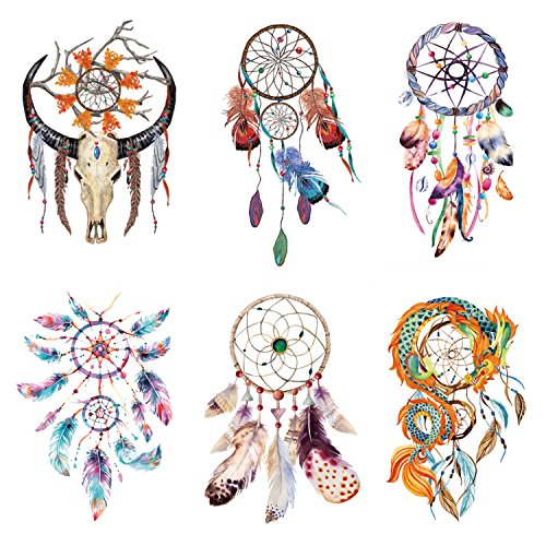 COKOHAPPY 6 Blätter Dream Catcher Design and Feder Körper für Damen Flash Temporäre Tatoo (Dream Catcher Kostüme)