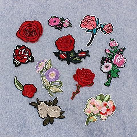 KING DO WAY 11pcs Stickerei Pfingstrose Rose Blumen Nähen Bügeln auf Aufbügler flicken Patches Kleider Aufnäher Tasche Hut Applique Fertigkeit auf Schal Jeans Kleid Idee Kreative Mode Künste (Jeans Kleid)