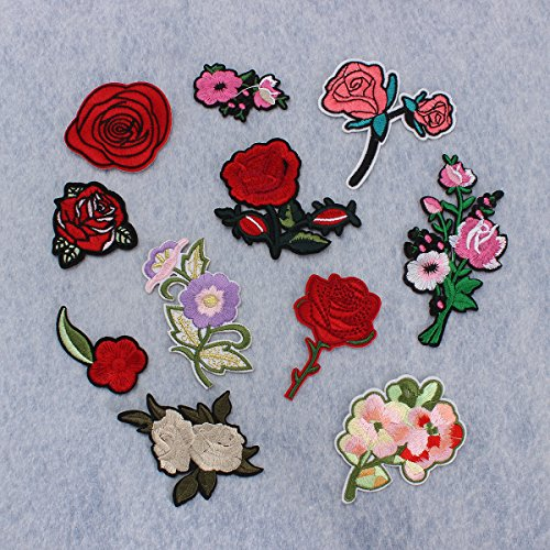 KING DO WAY 11pcs Stickerei Pfingstrose Rose Blumen Nähen Bügeln auf Aufbügler flicken Patches...