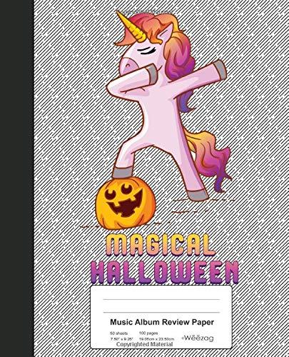 Music Album Review Paper: Book Dabbing Unicorn Pumpkin Halloween (Weezag Music Album Review Paper Notebook, Band 178)