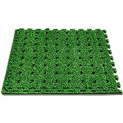 SL247 Pool Bodenschutzmatte I Rutschfest I Extra groß und Dick 60x60x1cm I Poolmatte aus Schaumstoff I Unterlegematte in Gras Optik 4er Set