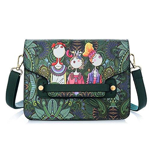Penao Mode-Satteltasche, Damen Cartoon Druck Pu Leder einzigen Messenger Umhängetasche, Größe 21.5cmx9cmx16cm -