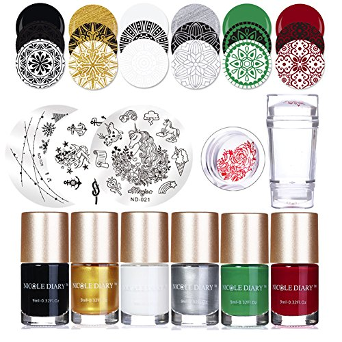 NICOLE DIARY Nail Art Stamping Kit - 4Pcs Nail Emboutissage Plaques + 6Pcs Stamping Polish + 1Pc Double Tête Gelée Transparent Silicone Stamper + 2Pcs Nail Scraper Manucure Nail Art Outil
