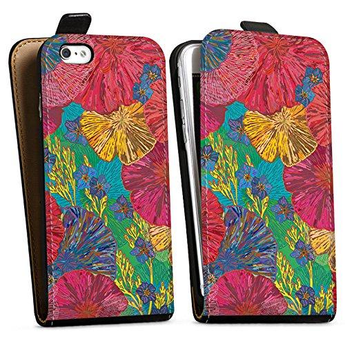 Apple iPhone X Silikon Hülle Case Schutzhülle Kunst Blumen Muster Downflip Tasche schwarz
