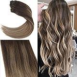 YoungSee 7 Tressen Extensions für Komplette Haarverlängerung Clips Echthaar Braun Blond Balayage 100% Remy Echthaar Clip in Extensions Dickes Haar 50 cm 120g