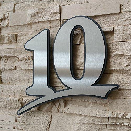 mit Montageschablone Hausnummer 9 UV-best/ändig und abwaschbar Rostfrei Anthrazit wie Pulverbeschichtet RAL 7016 Original ALEZZIO Design 16cm Ziffernh/öhe schwarz oder wei/ß 6mm stark aus Acrylglas in Anthrazit-grau