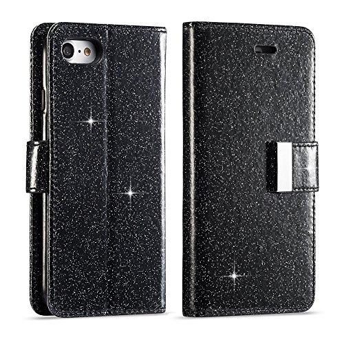 LCHULLE Für iPhone 6 Hülle, iPhone 6S Brieftasche, iPhone 6 Lederbezug, Glänzend Funkeln Bling PU-Leder Flip Folio Ständer Brieftasche Schutzhülle mit 6 Kartensteckplätze-Schwarz