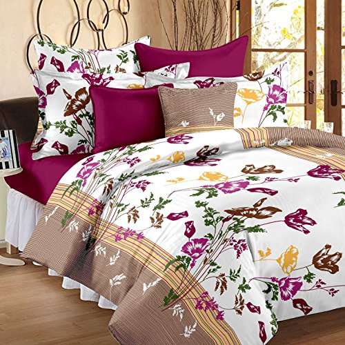 Story@Home 120 TC Sateen Double Bedsheet with 2 Pillow Covers - Floral,...