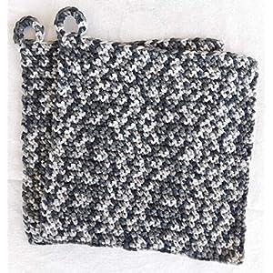 Topflappen 100% Baumwolle gehäkelt ca. 19 x 18 cm in Grautönen