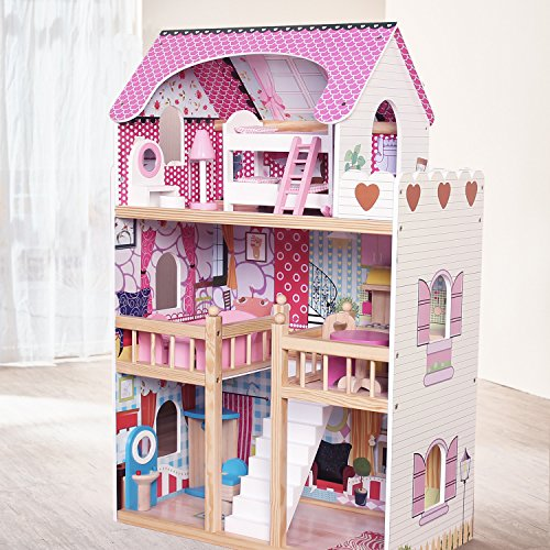 Kids Wooden Dollhouse 3 Storey With 17PCS Furnitures Couture Dolls House