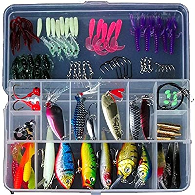 Soft Baits Jig Head Lures Sets Outdoor Fishing Tackle Set,Fish with false body decoy 100 accessories, Lure the whole new product, environmental protection convenient for fresh water and sea fishing from CARREYKERRY