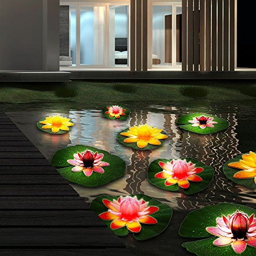 9er Set Wasser Lilien Garten Teich Leuchten Außen Lampen See Beleuchtung IP44