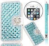 iPhone 7 Handytasche,iPhone 7 Hülle,Sunroyal Elegant Luxus Noble Weiß Rose Rot Schmetterling Bling...
