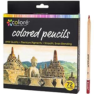 Crayons de Couleur de Colore - Ensemble de 72 crayons de couleur taillés Premium pour faire des coloriages - Très bien pour les fournitures scolaires, les enfants et les adultes et pour le coloriage - 72 couleurs vives