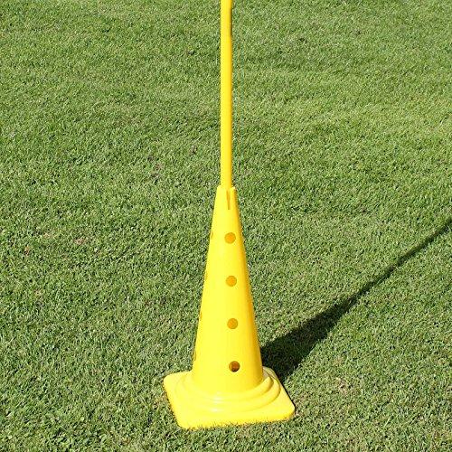 Kombi-Kegel 50 mit Kombi-Stange 180 cm für Slalomparcours, für Agility - Hundetraining (gelb)