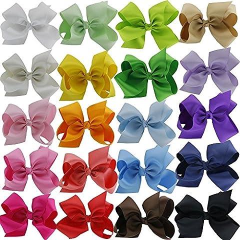 Tannkerstreet bébé fille Cheveux nœuds ruban gros grain Grande Boutique Accessoires Cheveux Pinces à cheveux pour bébé fille enfants Teen bindis Lot de 20