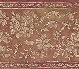 Retro Art Weiße Blumenmuster Tawny braun Damask Wallpaper Border Retro-Design, Roll-15' x 7''