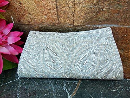 Elegant evening clutch, sequin clutch, Womens party clutch,classic minimalist White clutch, White minaudiere, Prom clutch - handmade-bags