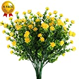 Nahuaa Künstliche Blumen 4 Stück Gefälschte Pflanzen Faux Eukalyptus Sträucher mit Gelben Büsche Bündel überdacht Draußen Tisch Mittelstücke Arrangements Dekor Home Küche Büro Sommer Dekorationen